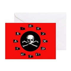 Red Pirate- Jolly Roger Greeting Cards (10 Pack)