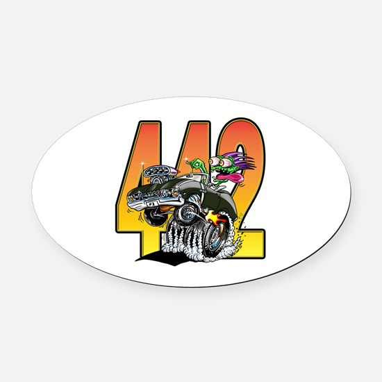 Cute Muscle car Oval Car Magnet