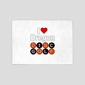 I Love Oregon Disc Golf 5'x7'Area Rug