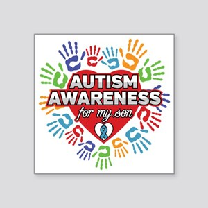 """Autism Awareness for my Son Square Sticker 3"""" x 3"""""""