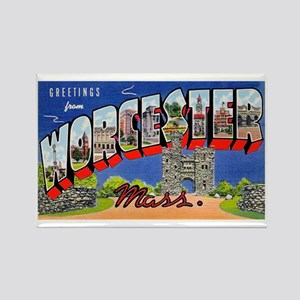 Worcester Massachusetts Greetings Rectangle Magnet