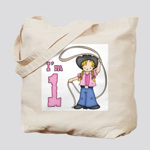 Cowgirl Roper First Birthday Tote Bag