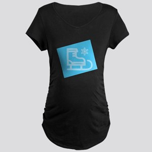 Hockey Skate - Snowflake Maternity T-Shirt