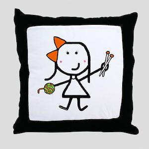 Girl & Knitting Throw Pillow