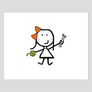 Girl & Knitting Small Poster