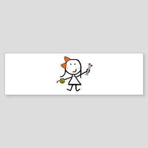 Girl & Knitting Bumper Sticker
