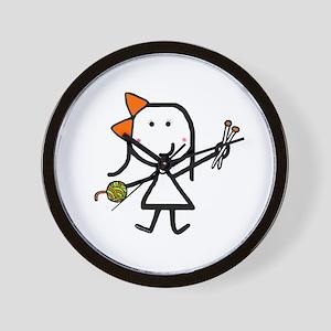 Girl & Knitting Wall Clock