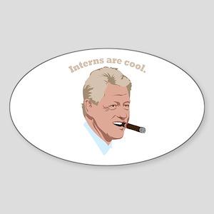 Interns are cool. Oval Sticker