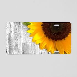 sunflower barnwood country Aluminum License Plate