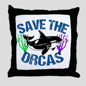 Save the Orcas Throw Pillow