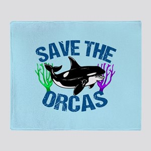 Save the Orcas Throw Blanket