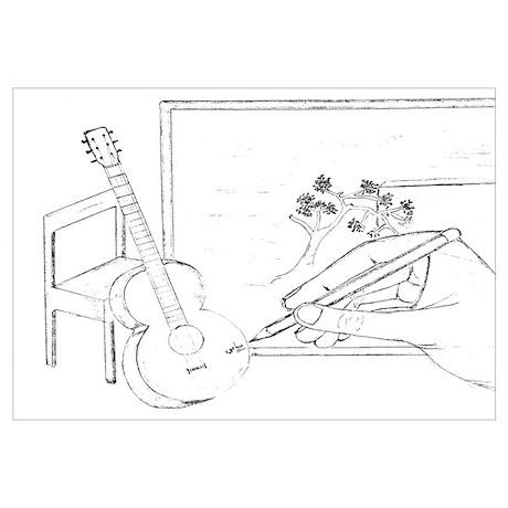 guitar hands wall art cafepress Double Neck Banjo