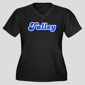 Retro Talley (Blue) Women's Plus Size V-Neck Dark