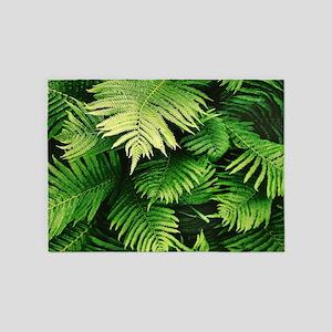 Green Tropical Ferns 5'x7'Area Rug