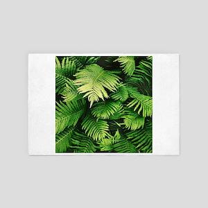 Green Tropical Ferns 4' x 6' Rug