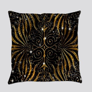 Black and Gold Victorian Sparkle Everyday Pillow