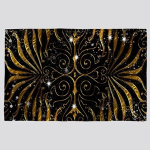 Black and Gold Victorian Sparkle 4' x 6' Rug