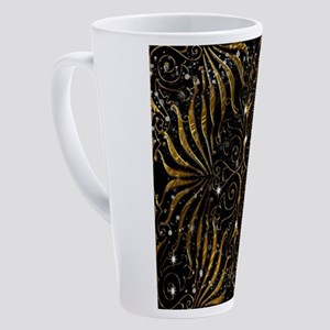 Black and Gold Victorian Sparkle 17 oz Latte Mug