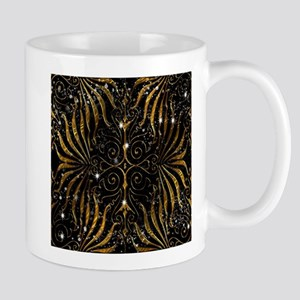 Black and Gold Victorian Sparkle Mugs