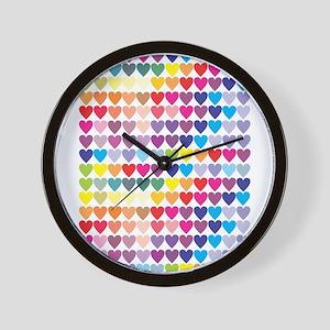 Rainbow Wall of Hearts Wall Clock
