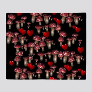 Mushrooms and Hearts Throw Blanket
