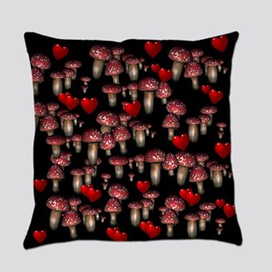 Mushrooms and Hearts Everyday Pillow