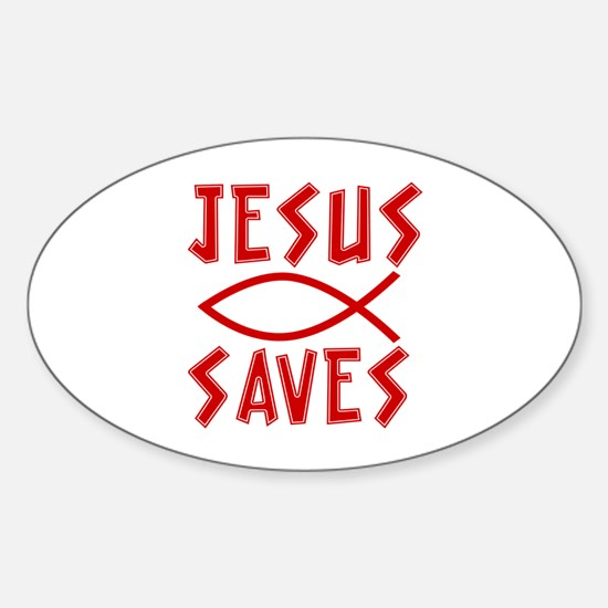 Jesus Saves! Oval Decal