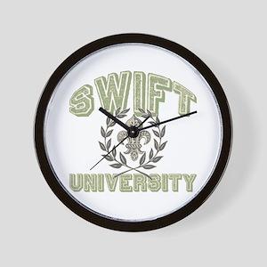 Swift Last Name University Wall Clock