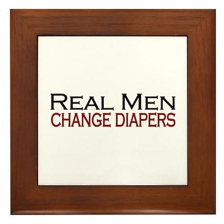 Real Men Change Diapers Framed Tile