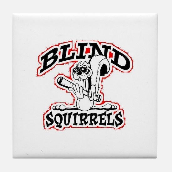 Blind Squirrels Tile Coaster White