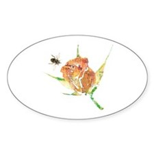 Rose and Bee Oval Sticker