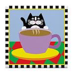Tuxedo Cat & Coffee Cup Java Cat Tile Coaster