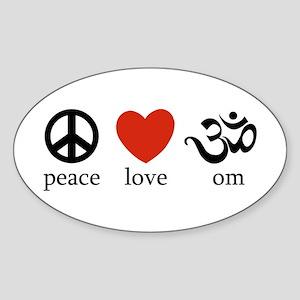 Peace Love Om Oval Sticker