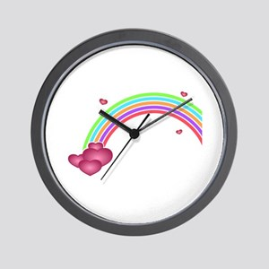 Hearts at the End of the Rainbow Wall Clock
