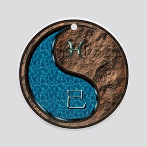 Pisces & Earth Snake Round Ornament