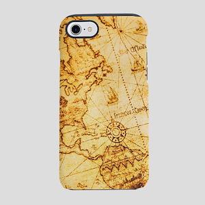 steampunk vintage world map iPhone 8/7 Tough Case