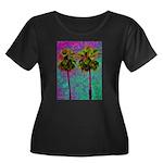 PalmArt Women's Plus Size Scoop Neck Dark T-Shirt