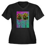 PalmArt Women's Plus Size V-Neck Dark T-Shirt