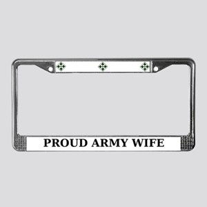 4ID Proud Army Wife License Plate Frame