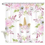 Pink Peony Floral Unicorn Shower Curtain