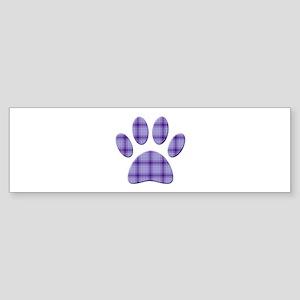 Purple Tartan Dog Paw Print Bumper Sticker