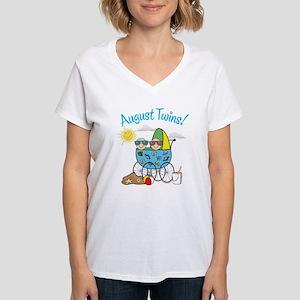 AUGUST TWINS! Women's V-Neck T-Shirt