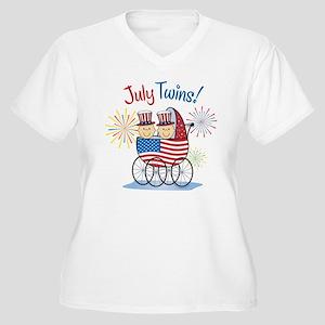 JULY TWINS! Women's Plus Size V-Neck T-Shirt