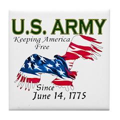 Army Keeping America Free Tile Coaster