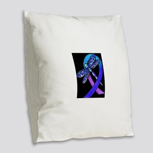 Cancer Awareness Burlap Throw Pillow