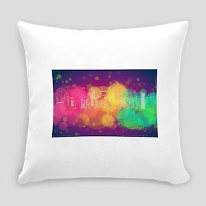 Bright Rainbow Lit City-Scape Everyday Pillow