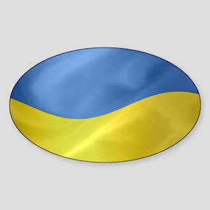 Ukrainian Flag Wavy Oval Sticker