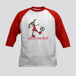Girls Soccer Girls Can Kick Kids Baseball Jersey