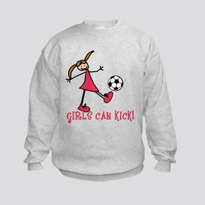 Girls Soccer Girls Can Kick Kids Sweatshirt