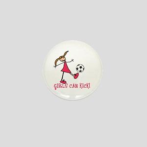Girls Soccer Girls Can Kick Mini Button
